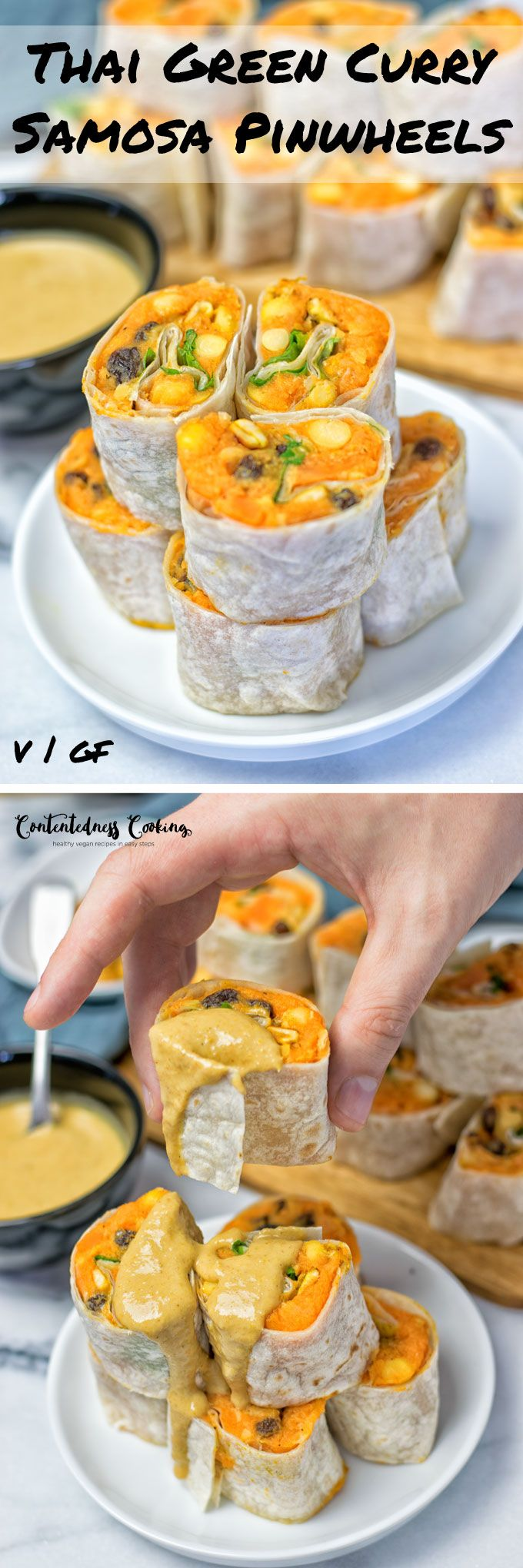 Thai Green Curry Samosa Pinwheels | #vegan #glutenfree www.contentednesscooking.com