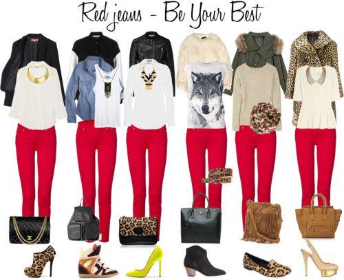 TENDENCIA: JEAN ROJO, armè el set con varias opciones de looks!! Cuàl o cualès son tus looks preferidos? Cuàl usarìas?
