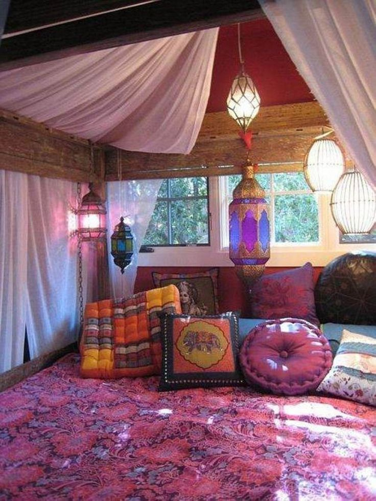 interior, Fancy Purple Themed Contemporary Girl Bedroom Which Is Beautified With Cute Pillows And Canopy Bed Illuminated By Gorgeous Hanging Lights - Chic Boho Design You Will Want to Try