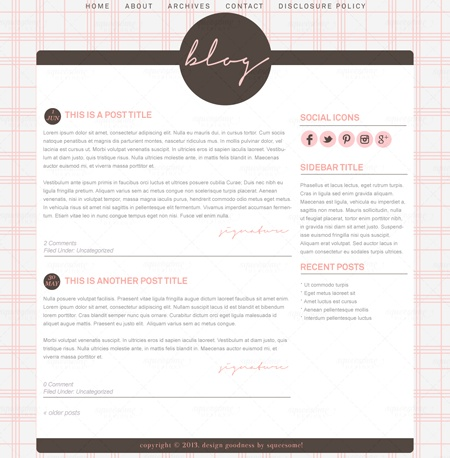 Blog Design - Abby #premade #wordpress #theme #design #pink #brown #blogdesign