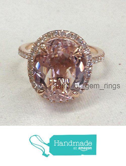 Oval Morganite Engagement Bridal Ring Pave Diamond Wedding 14K Rose Gold 10x12mm from the Lord of Gem Rings https://www.amazon.com/dp/B01GT3U0YM/ref=hnd_sw_r_pi_dp_mneHxbHEPRY3C #handmadeatamazon