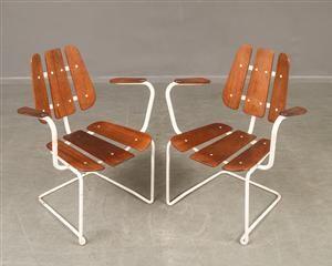 Vara: 3850697Trädgårdsmöbler i teak och stålrör, 1950-60-tal (4)