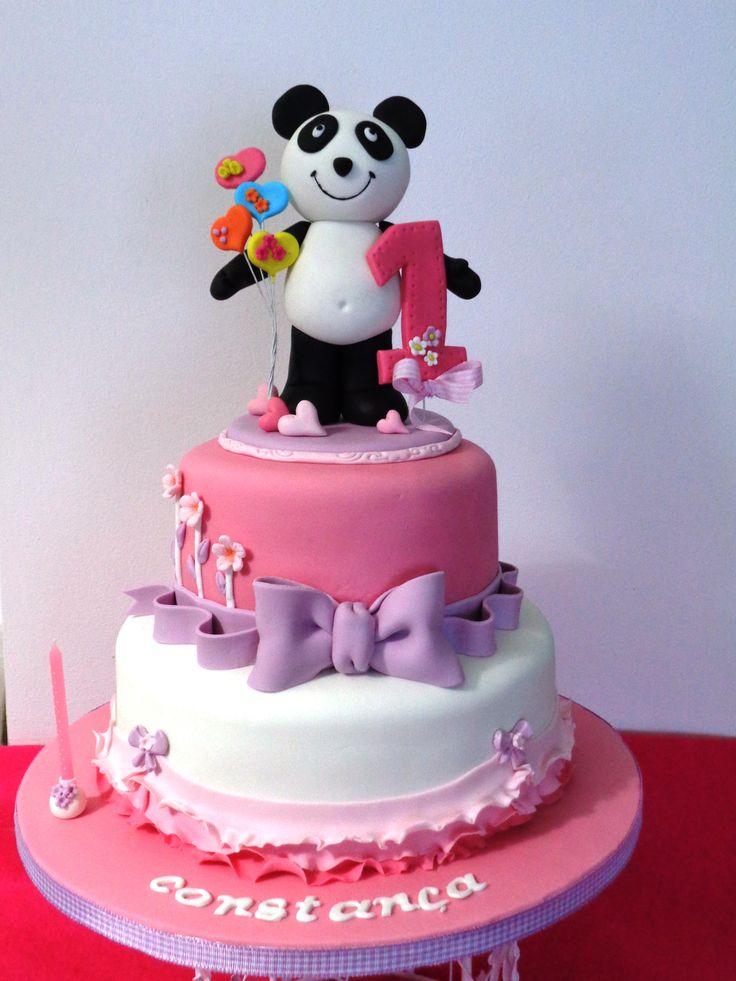 Bolo primeiro anivérsario com panda