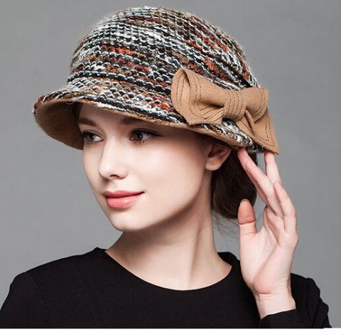 Winter bow bucket hat for lady wool bowler hats