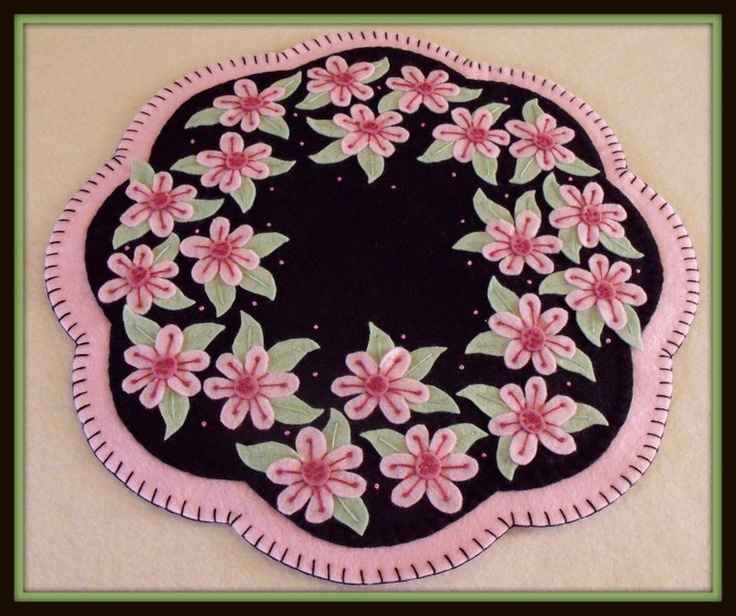 """Handstitched """"Cherry Blossoms"""" Wool-Felt Penny Rug - Candlemat. $39.00, via Etsy."""