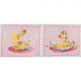 Little Suzy`s Zoo - Pink PANEL - Materiale textile online