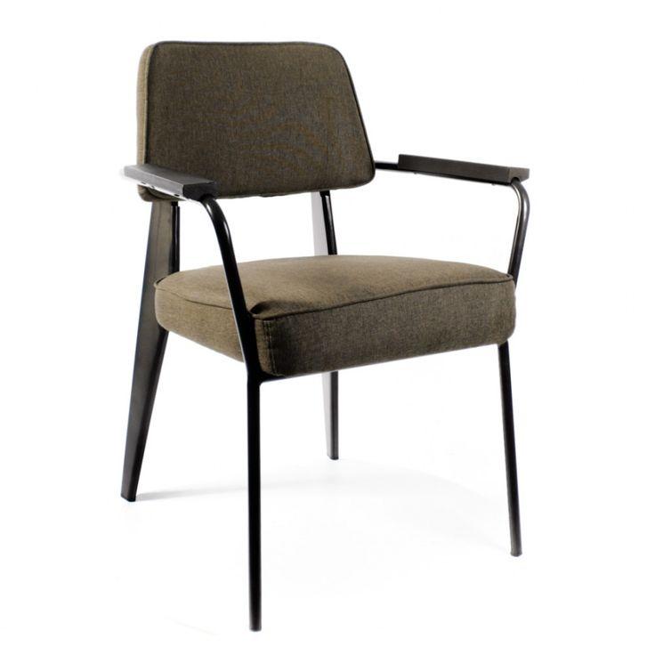 Дизайнерский Кресло Вена сталь + сиденье серо-зеленая ткань от Deephouse!