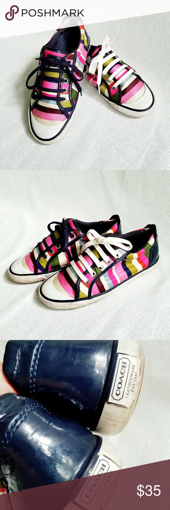 COACH Sneakers COACH Sneakers in cute bright stripes! Adorbs! Have fun with laces. Anything goes with these colors. Used, but in great condition still. Coach Shoes Sneakers