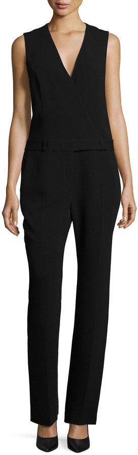 Alexander Wang Tuta Wrap-Front Tailored Jumpsuit, Onyx   LAST CALL BY NEIMAN MARCUS saved by #ShoppingIS