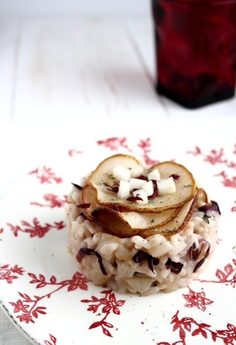 Risotto con pere, robiola e radicchio Risotto with pears and radicchio