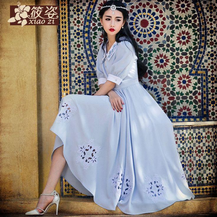 Ning Xiao Zian apă 2015 de vară nou guler păpușă cincilea mânecă sifon brodate rochie retro