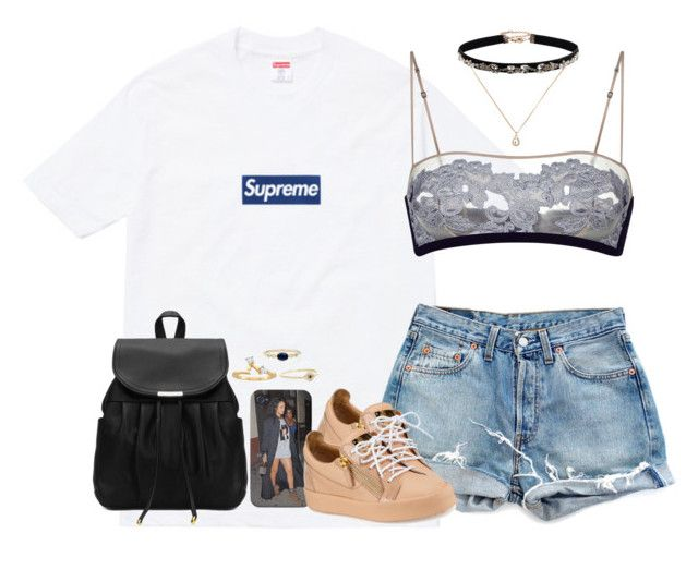 """""""I'm with her"""" by oh-aurora ❤ liked on Polyvore featuring Supreme, Levi's, Sydney Evan, Jennie Kwon, Giuseppe Zanotti, Accessorize and Forever 21"""