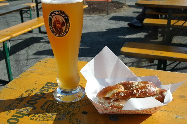 """Biergarten"" - S.F. / San Francisco is home to a handful of German restaurants that can virtually whisk diners away to Deutschland for a few hours on a festive night out, an Oktoberfest celebration or a chilly San Francisco evening when a hearty meal and tall glass of beer is in order."