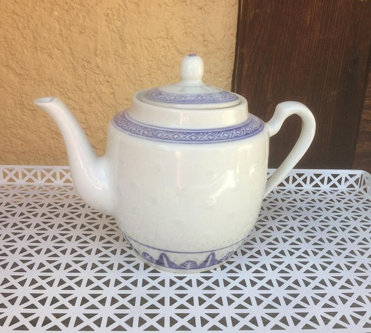 Tea Pot, Chinese Rice Eye Teapot, Blue and White China, Made in China Teapot, Tea Server, Tea Maker, Steeped Tea by TrashMaMa on Etsy