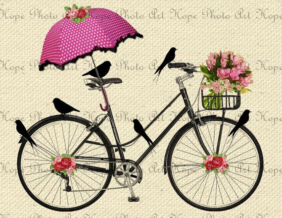 Spring Day Bicycle Ride -  Image Transfer Burlap Feed Sacks Canvas Pillows Tea Towels greeting cards umbrella - U Print JPG 300 dpi sh282