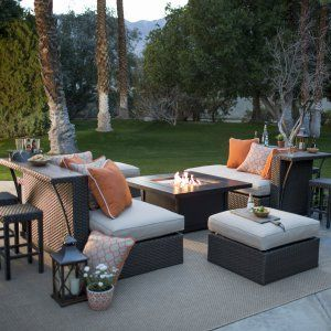 Love the table/ledge on the back of these couches!   Fire Pit Table Set on Hayneedle - Patio Fire Pit Seating for Sale