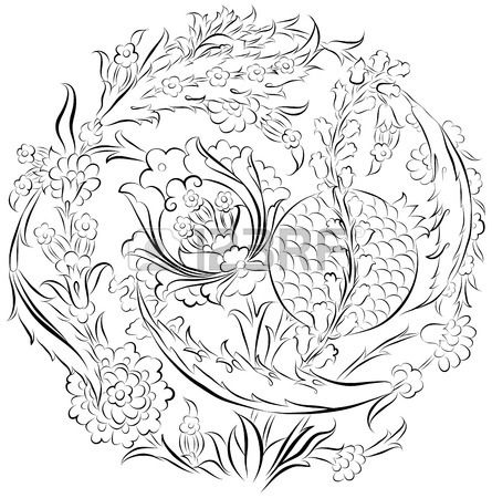 Engin Korkmaz - Floral ornament drawing in a circular composition with stylized Ottoman Turkish flowers and pomegranate Stock Vector - 41821537
