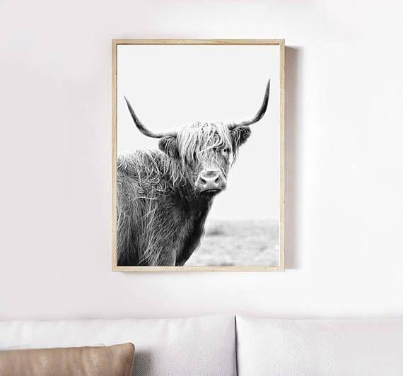 Highland Cow Print Wall Art Printable Art Black And White Etsy Highland Cow Print Cow Wall Art Cow Art Print