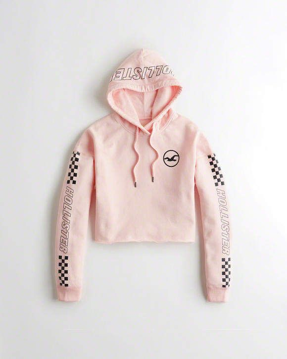 Hollister Checkerboard Graphic Crop Hoodie Ad Hollister Clothes