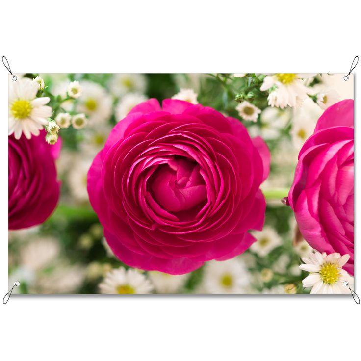 Tuinposter Boeket | Maak je tuin nog mooier met een weerbestendige tuinposter van YouPri. Bewezen kleurbehoud! #tuinposter #tuindoek #tuin #poster #weerbestendig #kleurbehoud #frontlit #goedkoop #voordelig #spanners #ogen #natuur #bloemen #bloem #rozen #roos