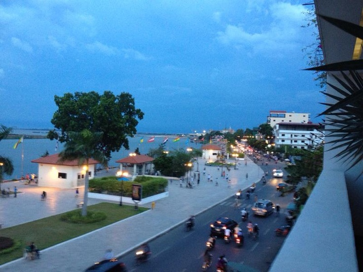 The view of the riverfront from The Quay Hotel in Phnom Penh, Cambodia.