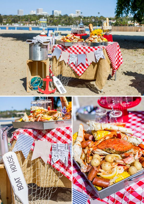 When the seafood is ready, invite everyone to hit the family-style crawfish and crab boil buffet! | Crawfish boil Father's Day Party on the Beach | Megan Long Photography