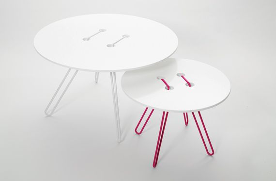 Twine Table  Title: Twine Table  Object: Coffee table  Material: painted MDF and steel wire  Sizez (cm): Big table H 43, diameter 75. Small table H 33, diameter 50.  Year: 2008