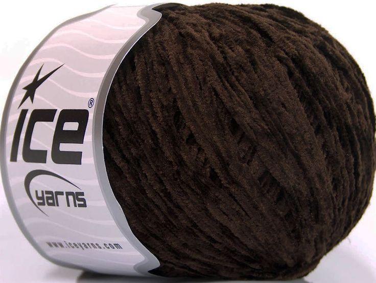 Şönil İplikler Çok İnce Tığ İşi Şönil Düz iplikler Amigurumi Koyu Kahverengi  İçerik 100% Polyester Brand Ice Yarns Dark Brown fnt2-51365