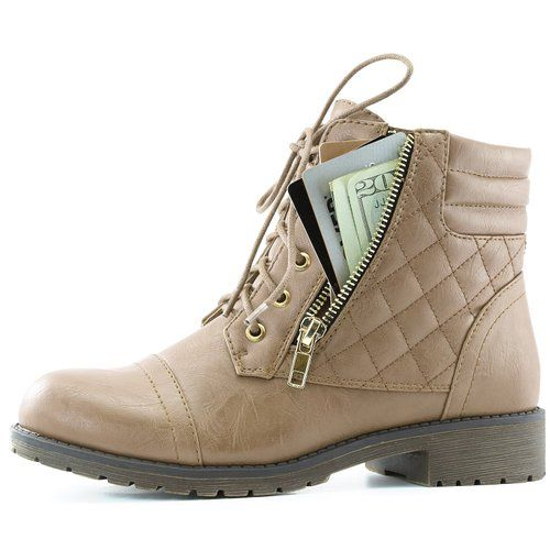 AmazonSmile   DailyShoes Women's Military Lace Up Buckle Combat Boots Ankle High Exclusive Quilted Credit Card Pocket Bootie   Ankle & Bootie
