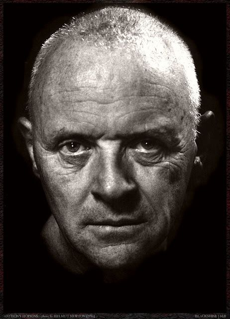 Anthony Hopkins staring right into your soul. But is it good Anthony Hopkins or barking mad Anthony Hopkins? (by Helmut Newton)