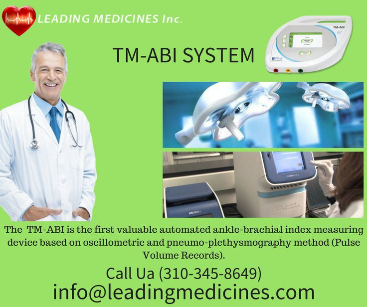 The TM-ABI is the first valuable automated ankle-brachial index measuring device based on oscillometric and pneumo-plethysmography method (Pulse Volume Records). The blood pressure on the upper and lower extremities is measured simultaneously, resulting in the calculation of the anklebrachial index (ABI). @Leading Medicines Inc. call at now (310-345-8649)