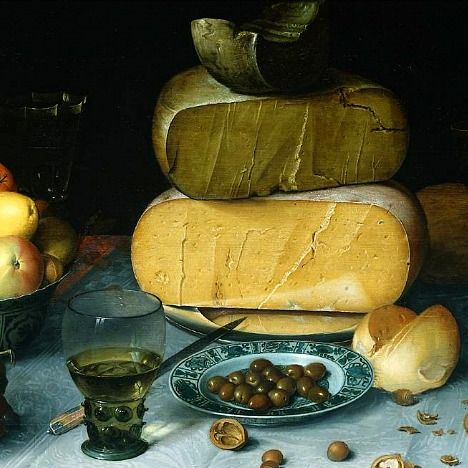 Still Life with Cheeses, detail by Floris van Dijck (1615-20):