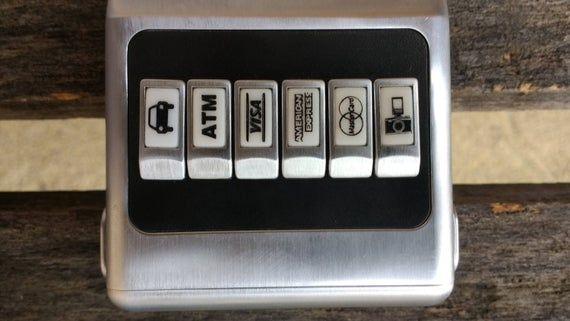 Vintage ACM Credit Card Wallet Dispenser and Money Clip with Black Faux Leather Case