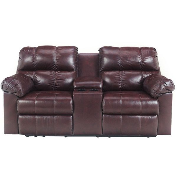 signature designs by ashley kennard double reclining power loveseat with console burgundy loveseat brown foam