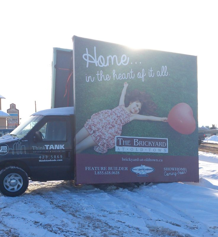 Daytona Homes used a Mobile Advan in Stony Plain to help advertise for The Brickyard, their new development #outofhomemarketing #outdooradvertising #alternativeadvertising