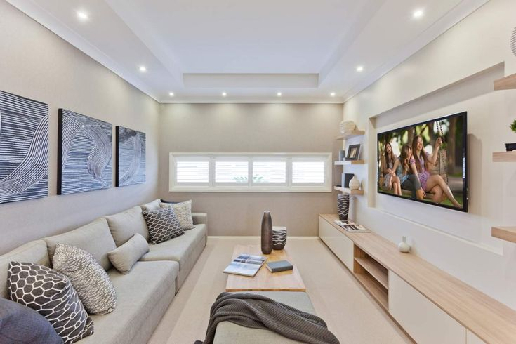 Inspiring home theatre in the Sandalford design by McDonald Jones Homes. Great place to unwind at the end of the day. Exclusive to Canberra. On display at 6 Bonarba Link, Googong NSW 2620. #hometheatre #loungeroom #mcdonaldjones #Canberra #ACT