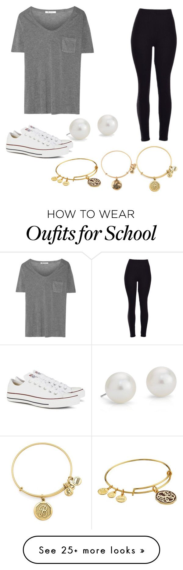 """Casual school day outfit!"" by brooke-betke on Polyvore featuring T By Alexander Wang, Converse, Blue Nile, Alex and Ani, women's clothing, women, female, woman, misses and juniors"
