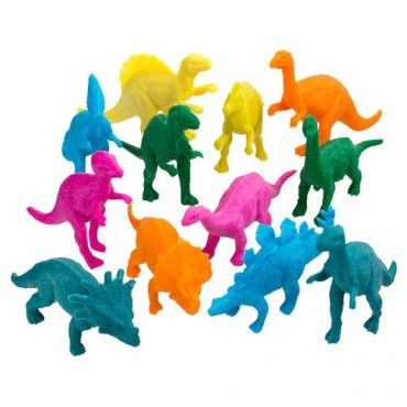 Neon Dinosaur Party Bag Fillers 12 Pack