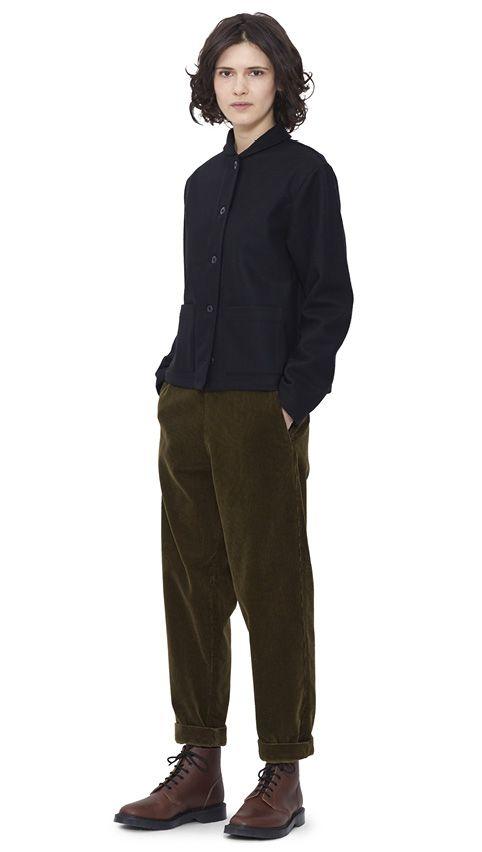 WOMEN AUTUMN WINTER 15 - Black melton wool Field Jacket MHL, army green corduroy Braces Trouser MHL, brown leather Derby Boot MHL