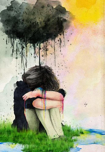 love this painting! you gotta have a lil rain, to make a rainbow