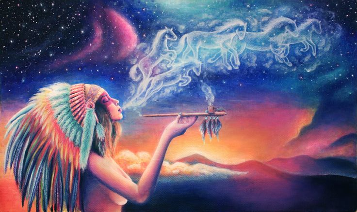 'Spirit' acrylic painting on canvas. 30x50 cm. Indian girl smoking peace pipe. Native American girl wearing colorful feathered war bonnet. Horses from smoke running in the sky. Sunset on a background. Surreal fantasy. Lowbrow art.