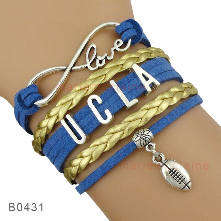 (10 Pieces/Lot) High Quality NCAA Infinity Love UCLA Bruins Football Bracelet Gift for Football Fans Custom Drop Shipping