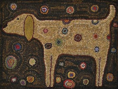 Hand Made Primitive Hooked Rug Yellow Dog Folk Art Eaam