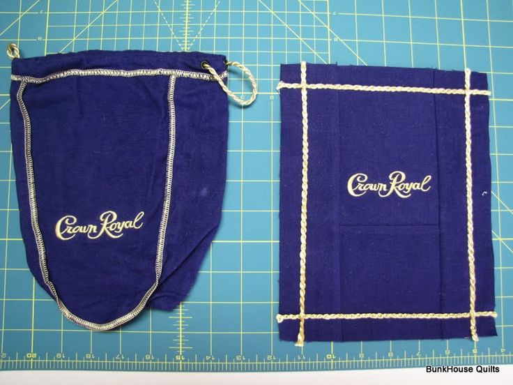 quilt made out of crown royal bags | taking these Crown Royal Bags and turning them into quilt blocks.