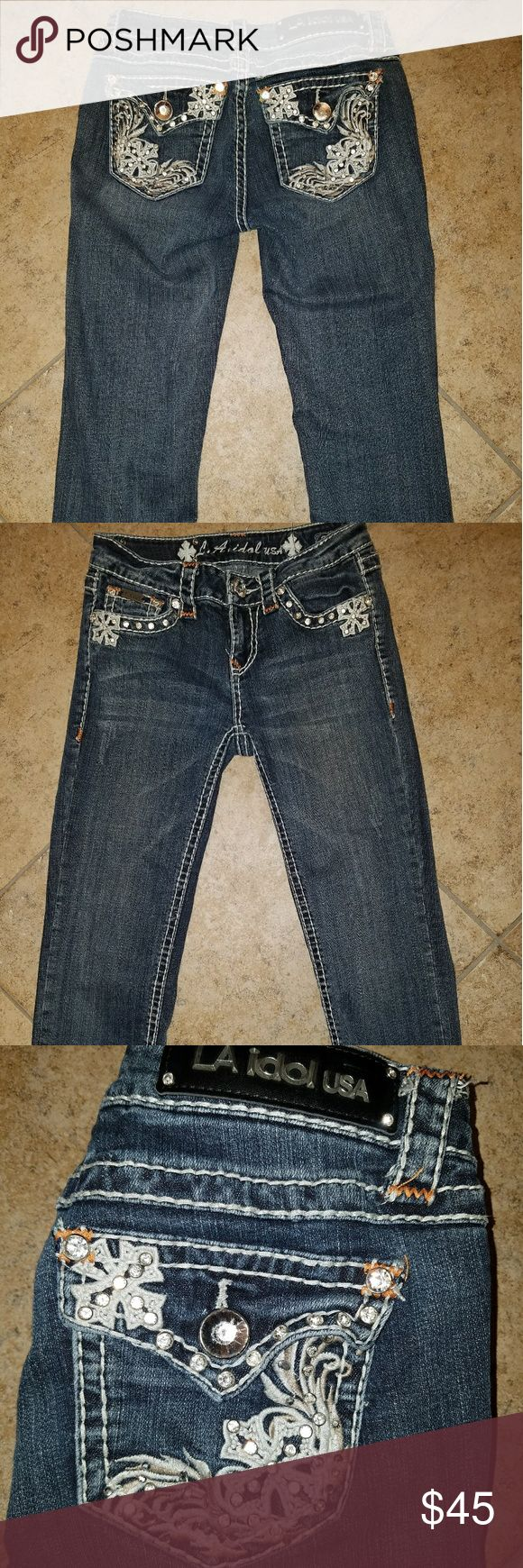 LA Idol Capri Jeans LA Idol Capri Jeans, EUC, like new!!! Lots of bling, no missing stones. Waist 28, length 18. LA Idol Jeans  Jeans Ankle & Cropped