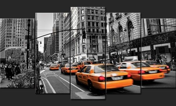 √ New York Night Noir Et Blanc Taxi Jaune