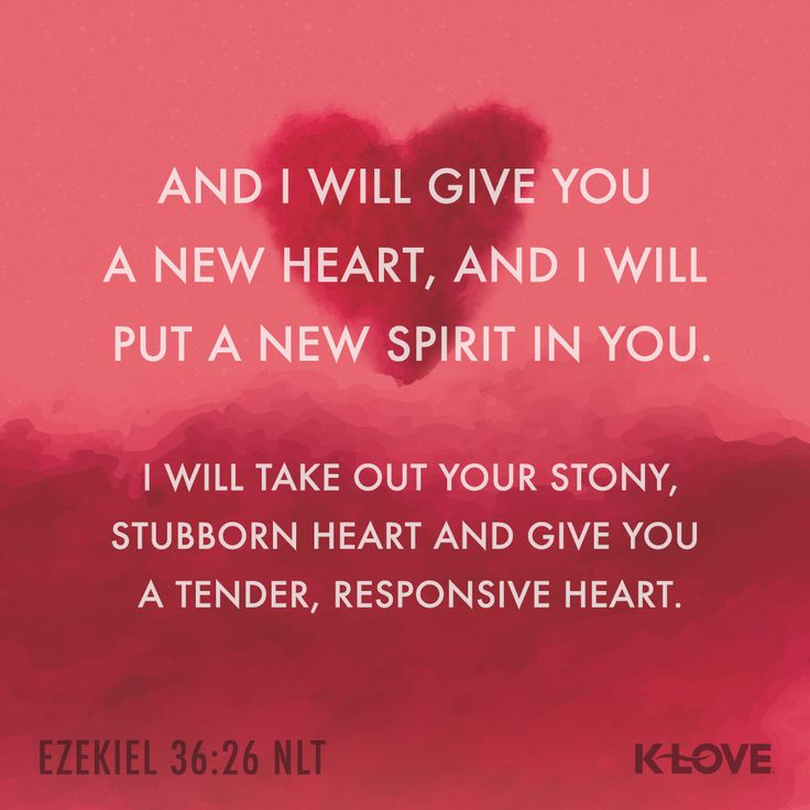 K-LOVE's Encouraging Word. And I will give you a new heart, and I will put a new spirit in you. I will take out your stony, stubborn heart and give you a tender, responsive heart. Ezekiel 36:26 NLT