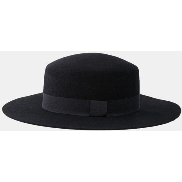 ASOS Flat Top Hat In Black Felt With Wide Brim (18 AUD) ❤ liked on Polyvore featuring men's fashion, men's accessories, men's hats, hats, mens flat hats, mens felt hat, mens wide brim hats and men's brimmed hats