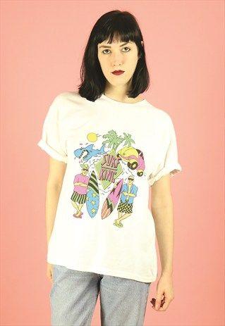90s+DEADSTOCK+Neon+Surf+King+T-shirt+Summer+Beachwear