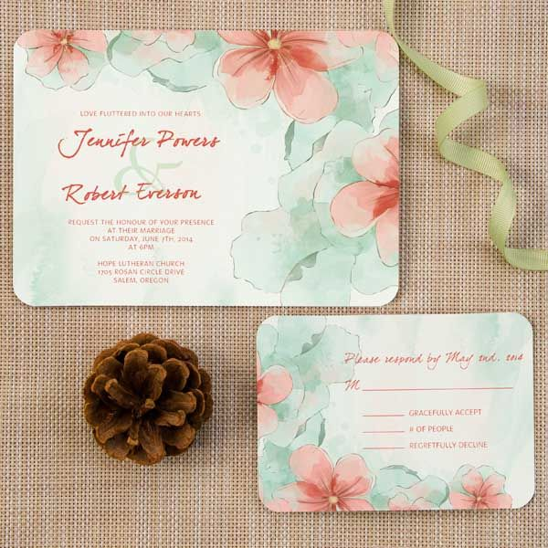 elegant spring mint green and peach flower watercolor ticket shape wedding invitations EWIr377 as low as $1.04
